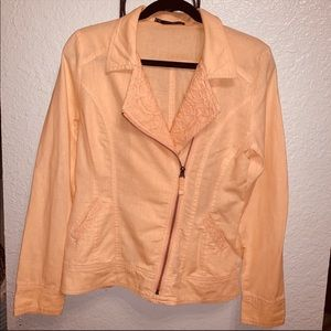 Nordstrom Maurices Peach Linen blend Moto Jacket